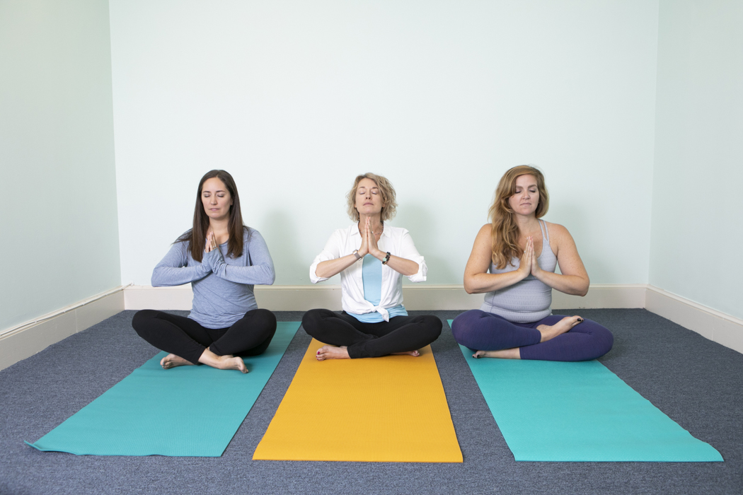 Lotus pose in yoga class