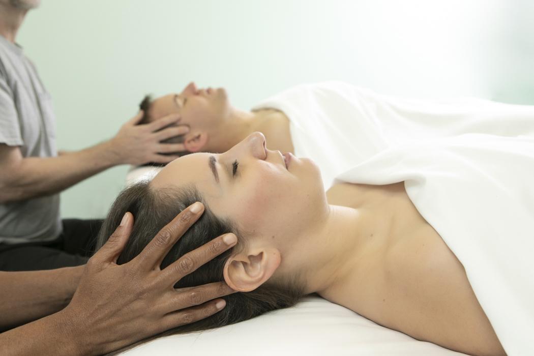 A couple receiving a massage